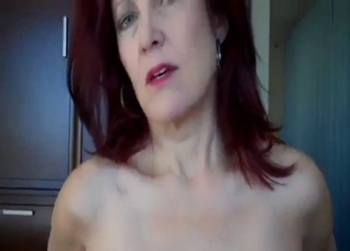 Slutty redhead mom is trying to seduce her son