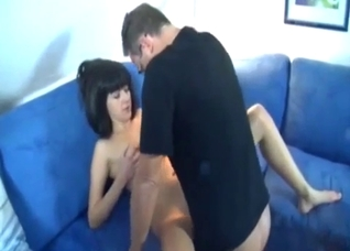 Good-looking sister jumps on her lovely daddy