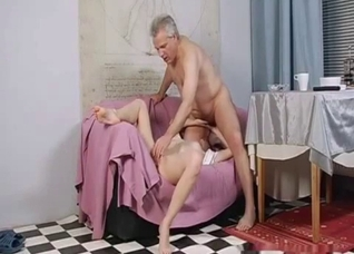 Young blonde daughter performs a blowjob for her dad
