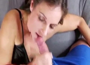 Brother with big cock cums on his busty sister