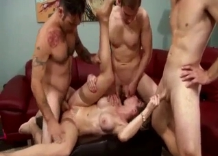 Two sons are fucking a dick-swallowing mother