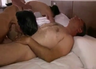 Two dads bangs their stepdaughters in the doggy style