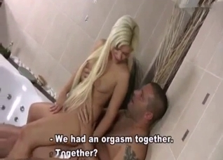 Big-boobed blonde is trying her brother's big shaft