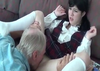 Crazy grandfather spanks and bangs his granddaughter